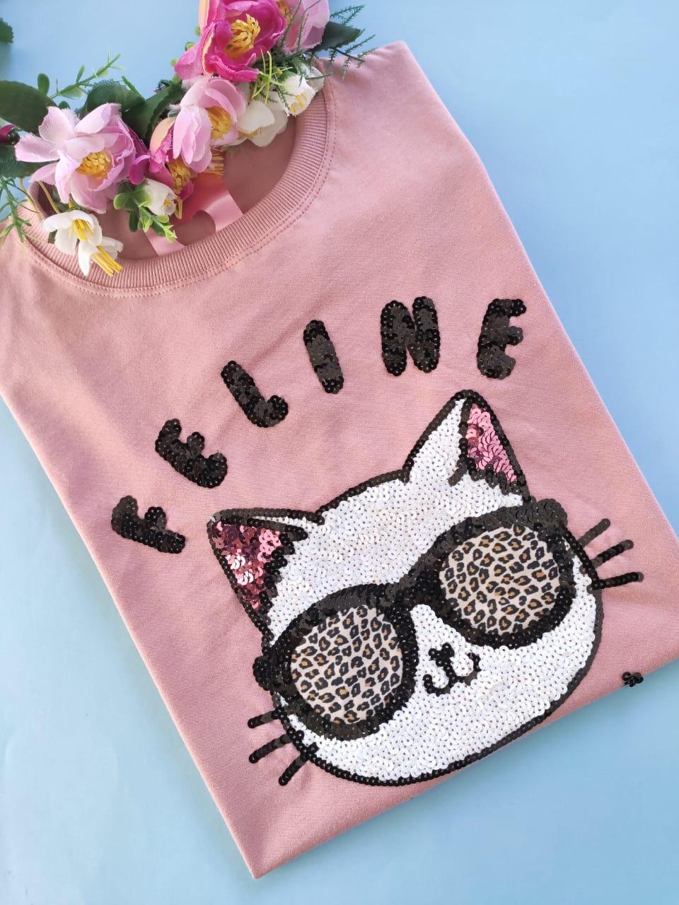 Camiseta Feline Rosê