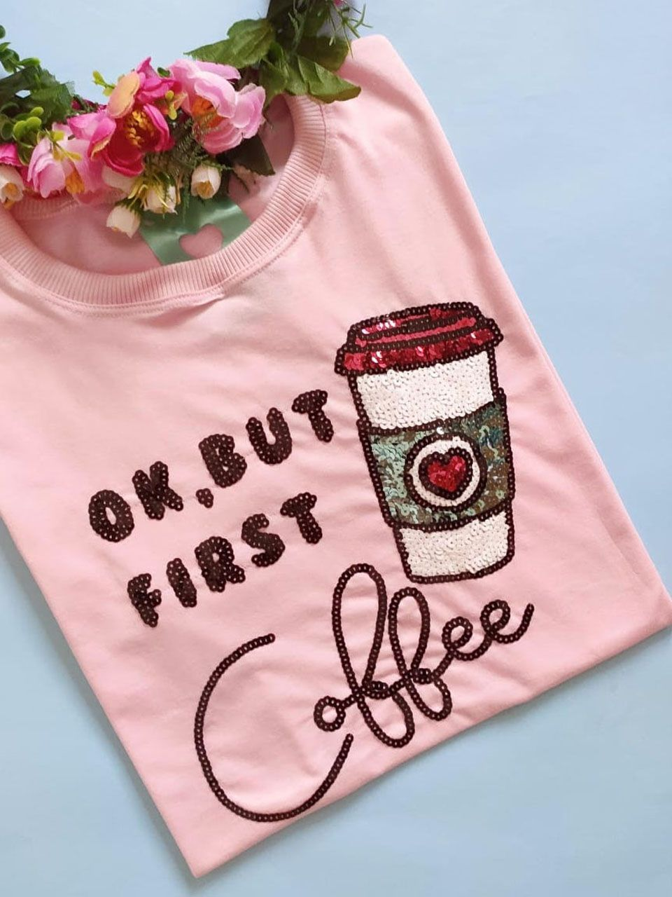 Camiseta First Coffee Rosinha
