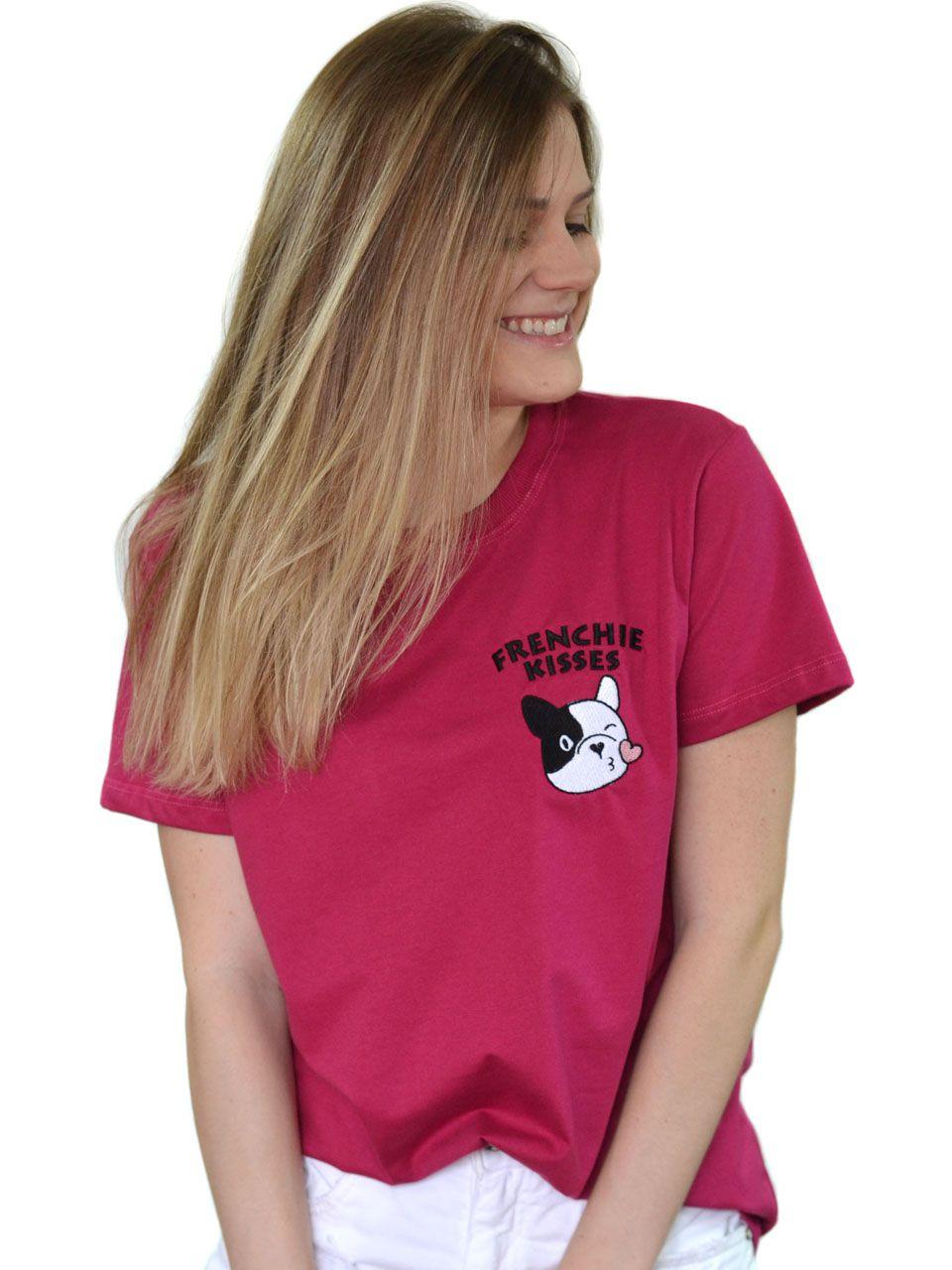 Camiseta Frenchie Kisses Vinho