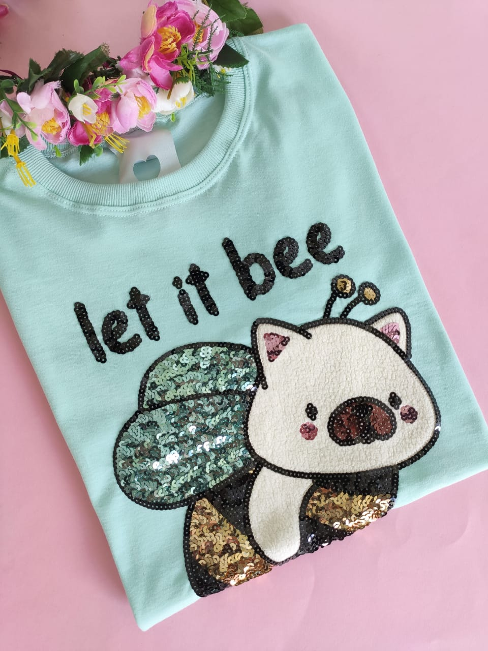 Camiseta Let It Bee Verde Água