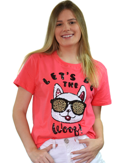 Camiseta Let´s Do The Whoof Coral