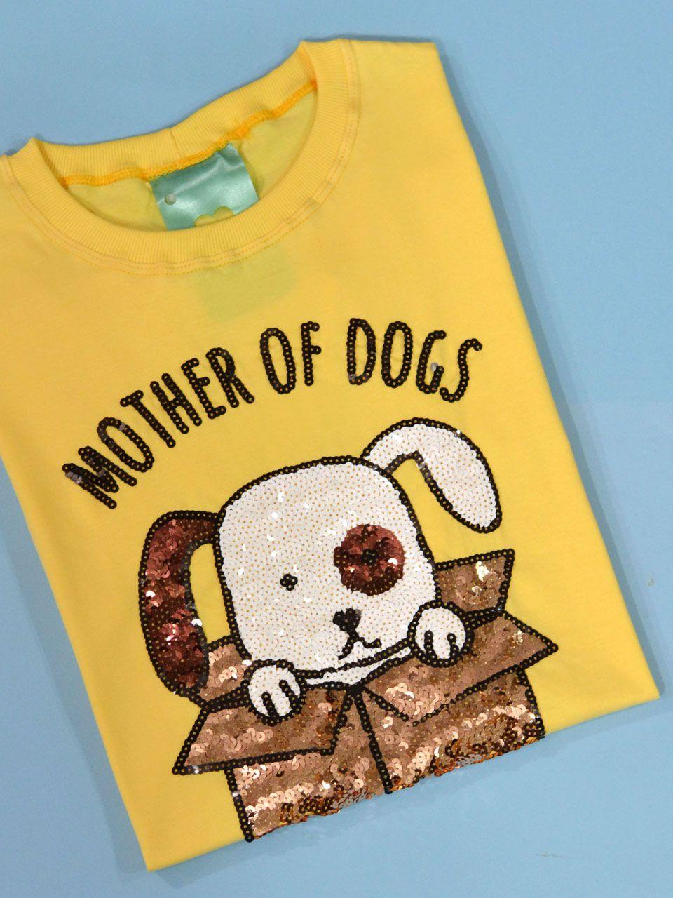 Camiseta Mother Of Dogs Amarela