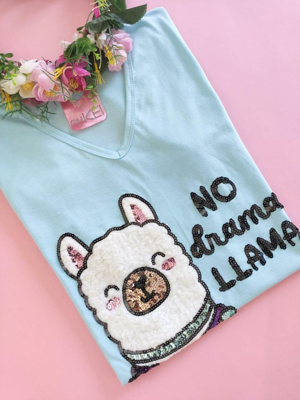 Camiseta No Drama Llama Azulzinho