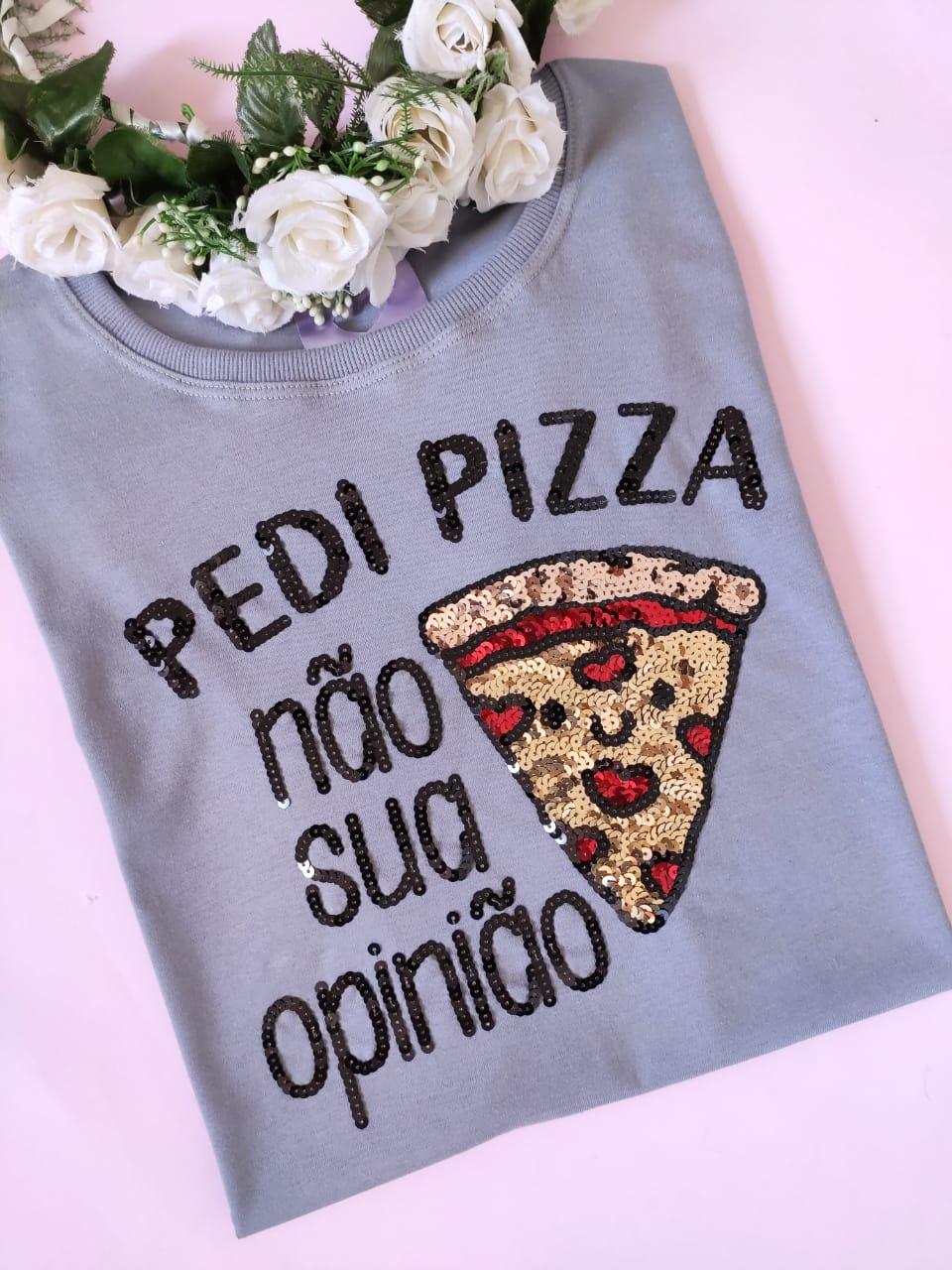 Camiseta Pedi Pizza Cinza Azulado
