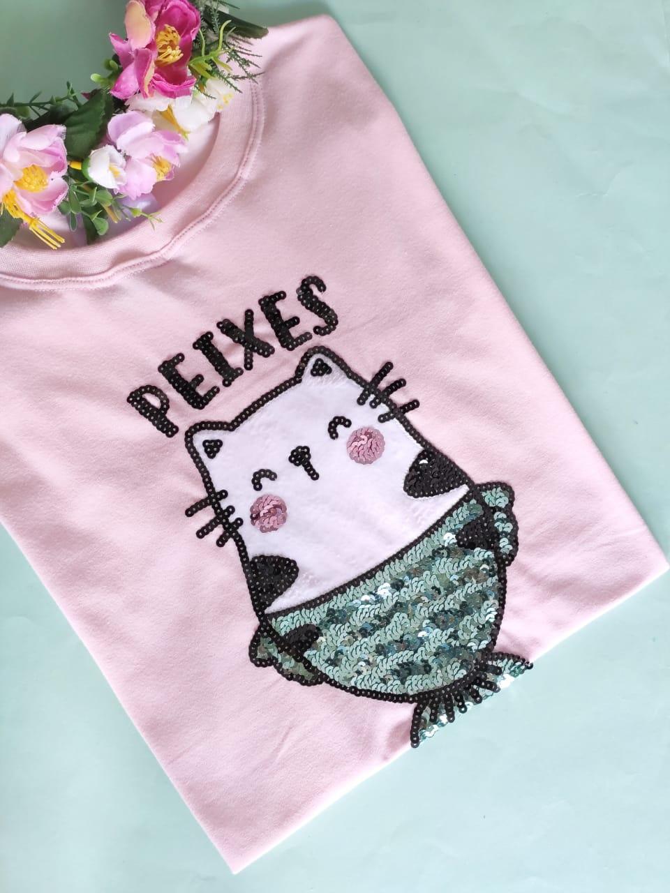 Camiseta Peixes Rosa Clarinho