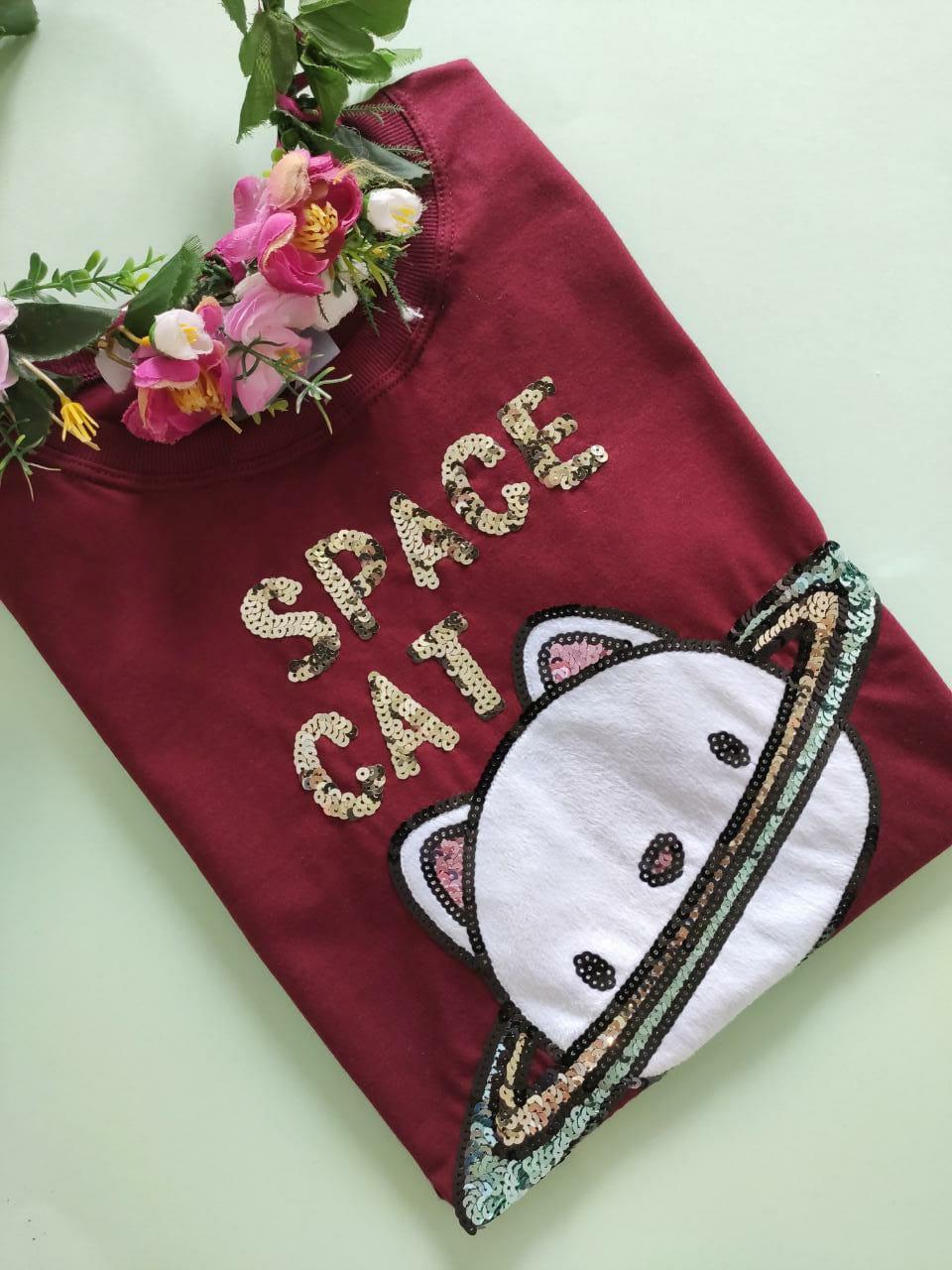 Camiseta Space Cat Bordo