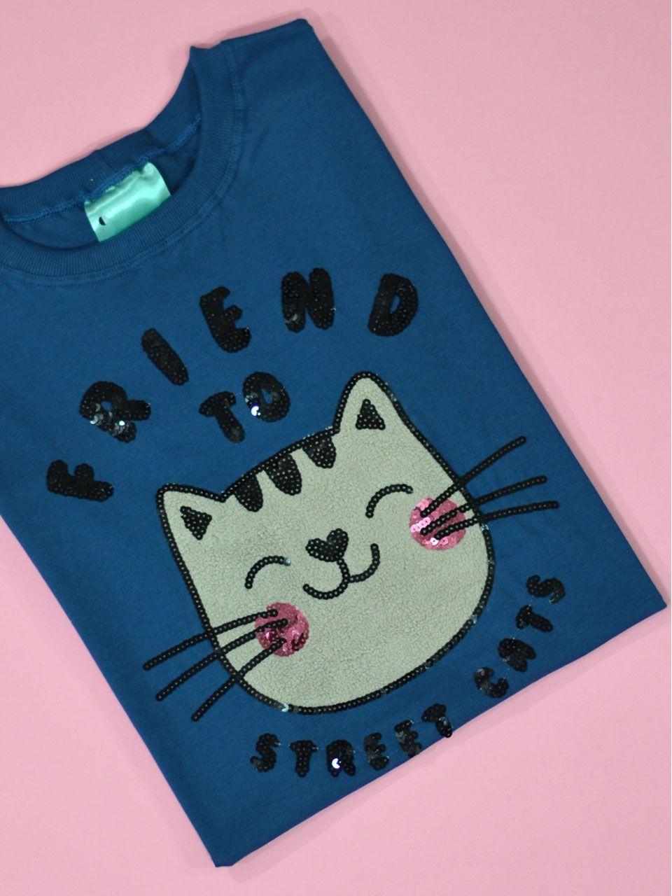 Camiseta Street Cat Azul