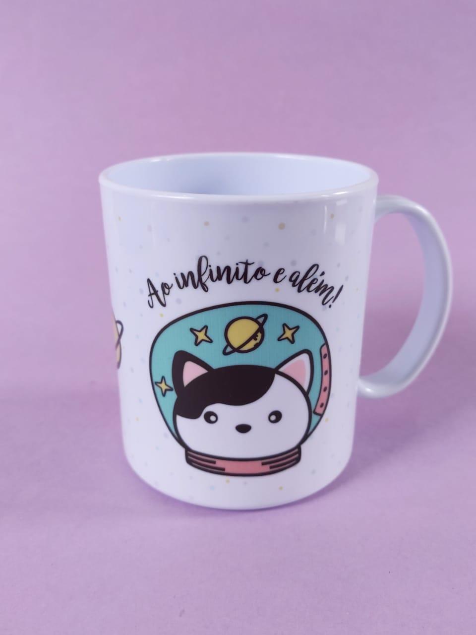 Caneca em Polímero de Gato Astronauta Personalizada com seu nome