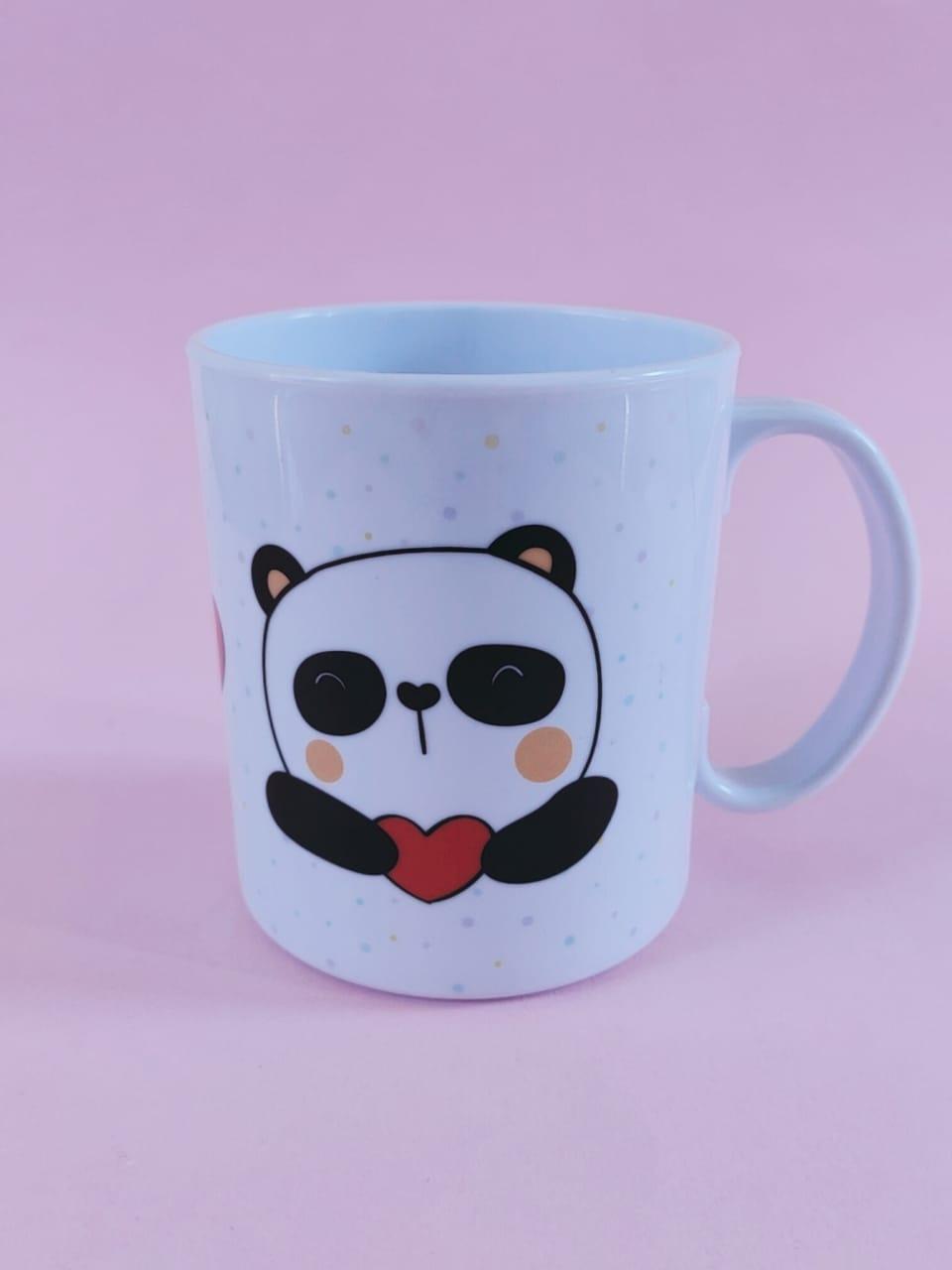 Caneca em Polímero de Panda Personalizada com nome