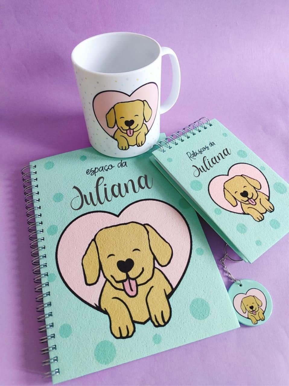 Kit Dogs Make Me Happy Personalizado com Nome (4 peças)