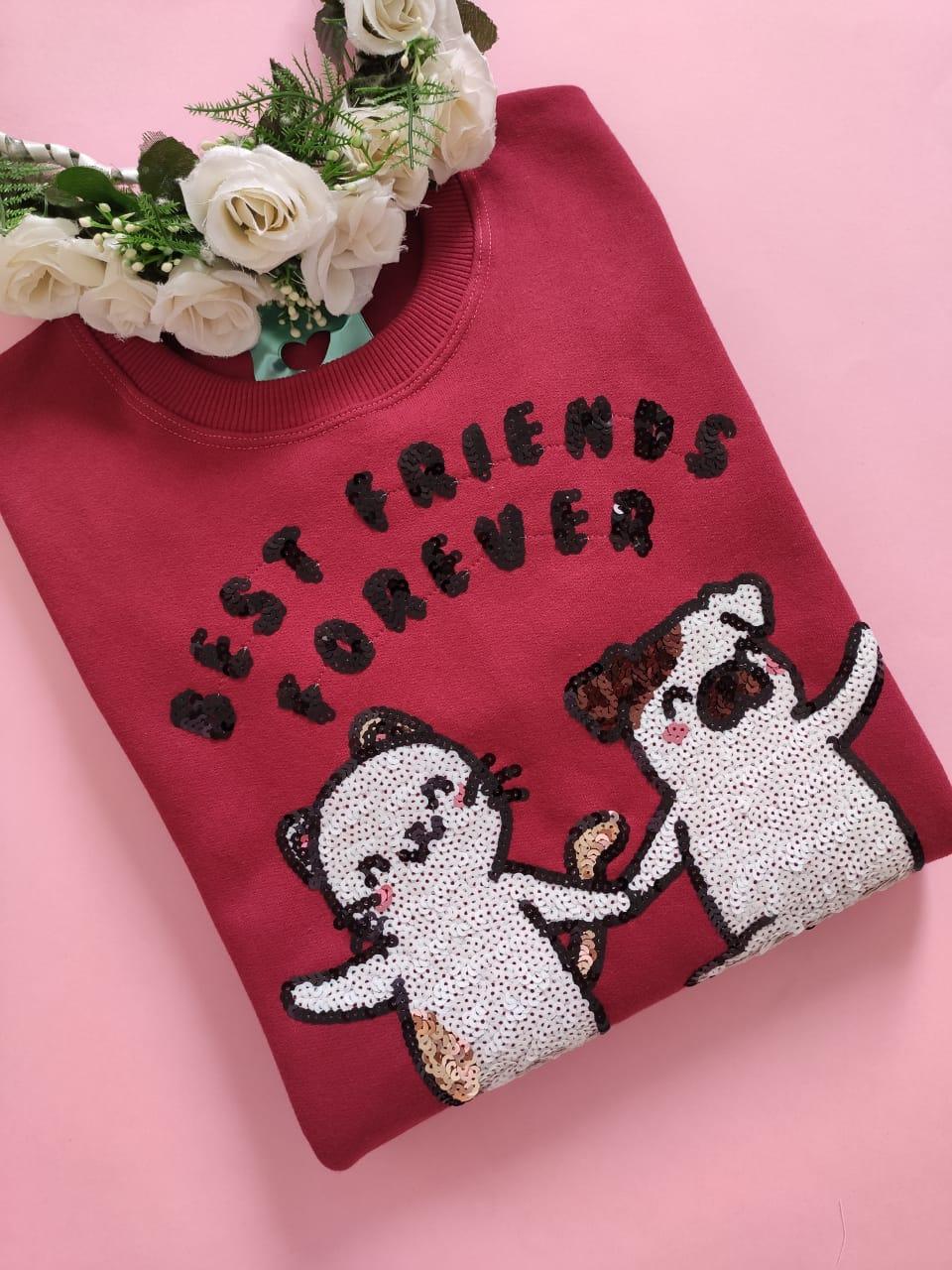 Moletom Best Friends Bordô