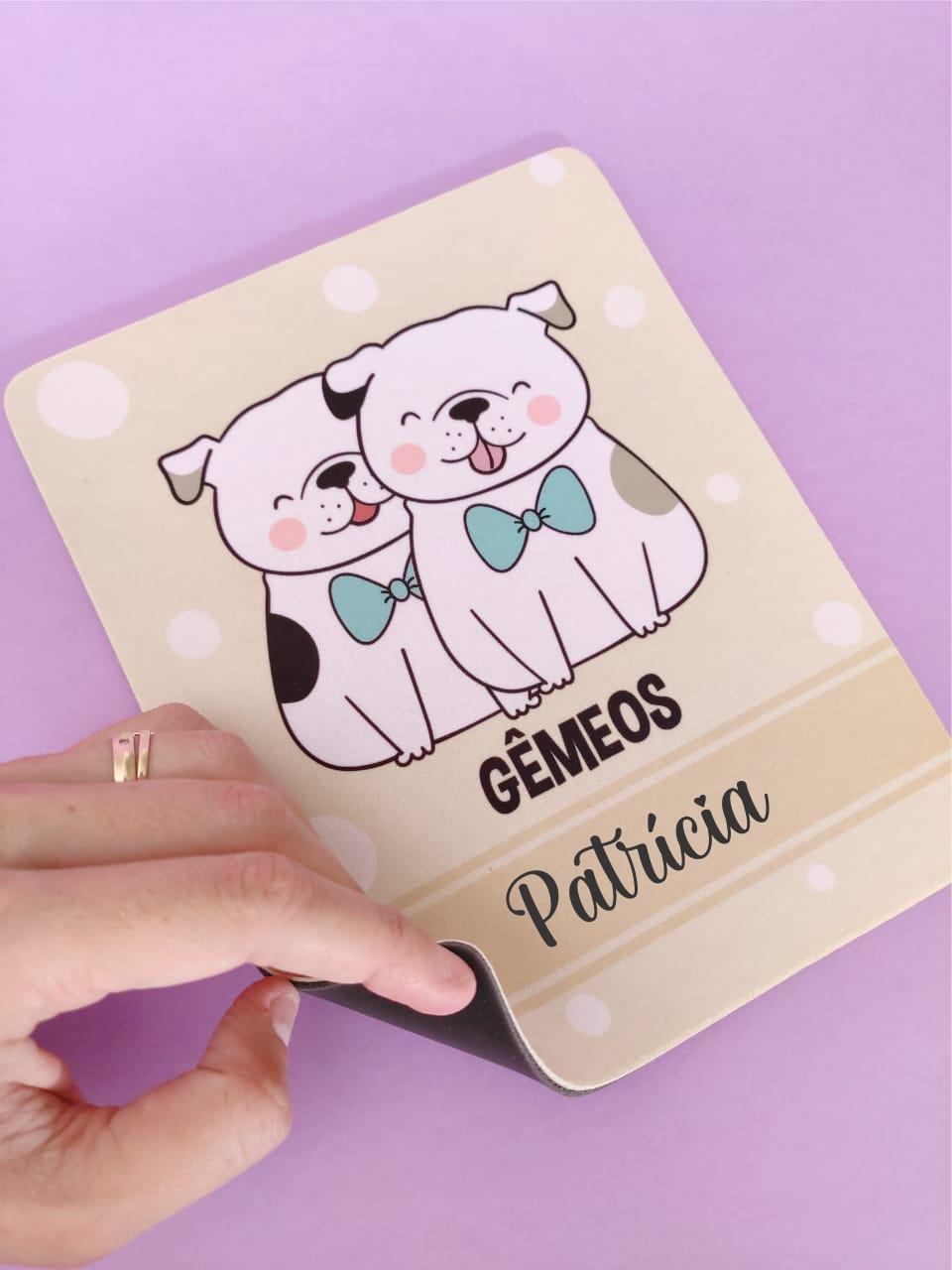 Mouse Pad Gêmeos Cachorro Personalizado com Seu Nome