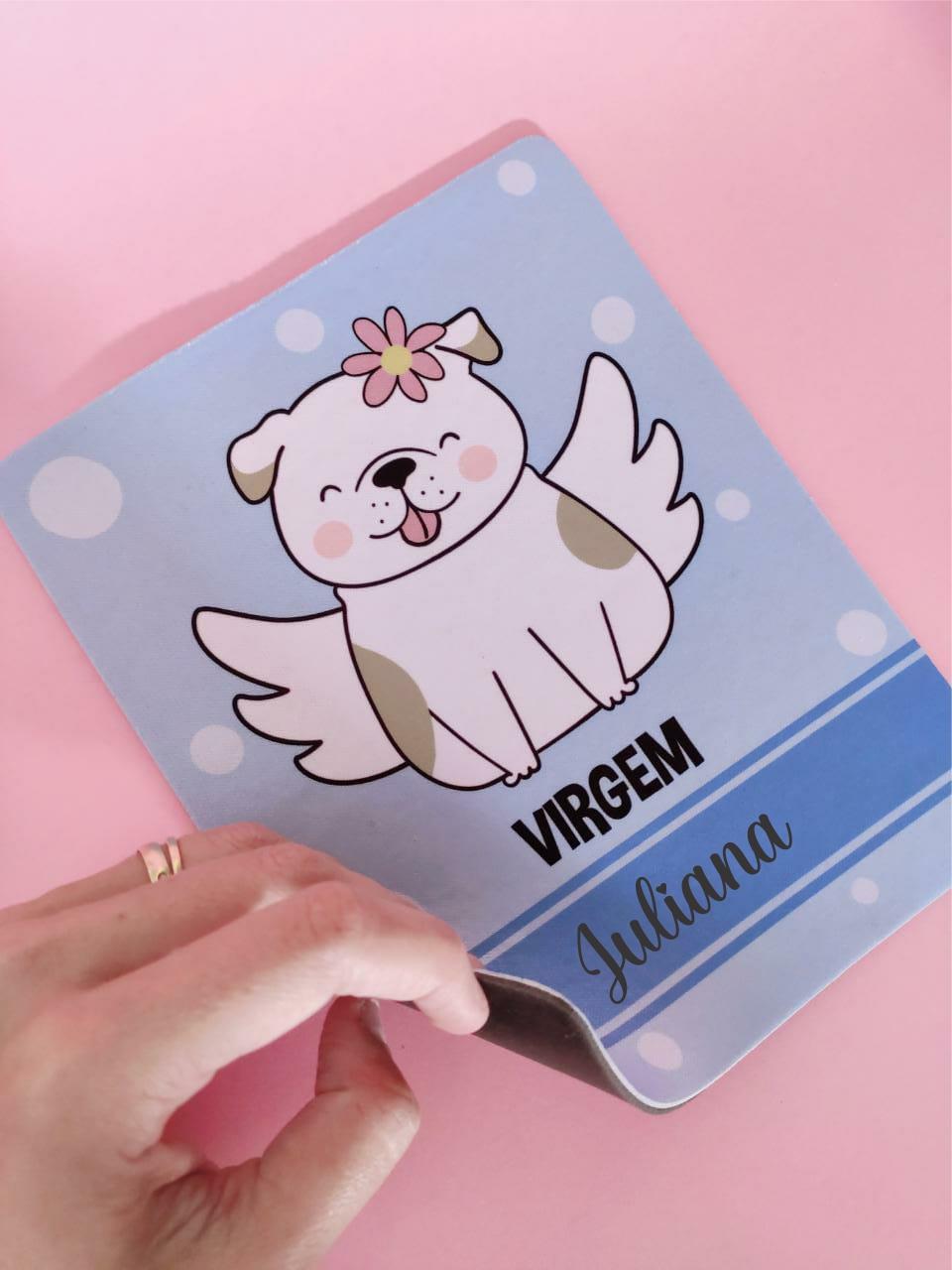 Mouse Pad Virgem Cachorro Personalizado com Seu Nome