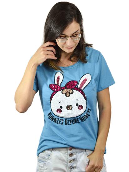 T-shirt Bunnies Azul
