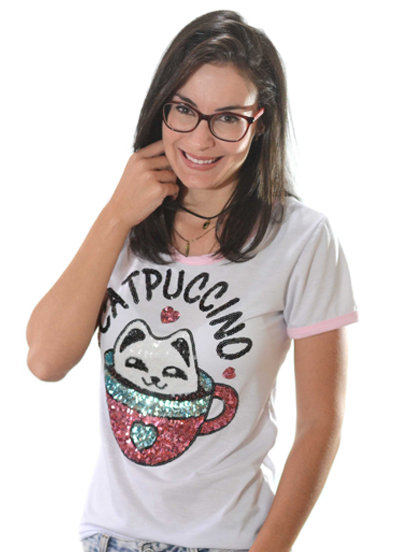 T-shirt Catpuccino Branca