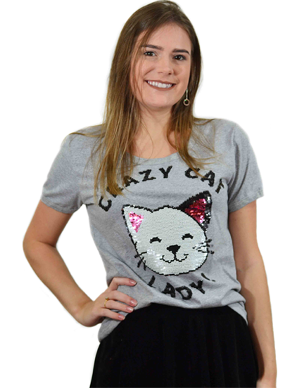 T-shirt Crazy Cat Lady Mescla