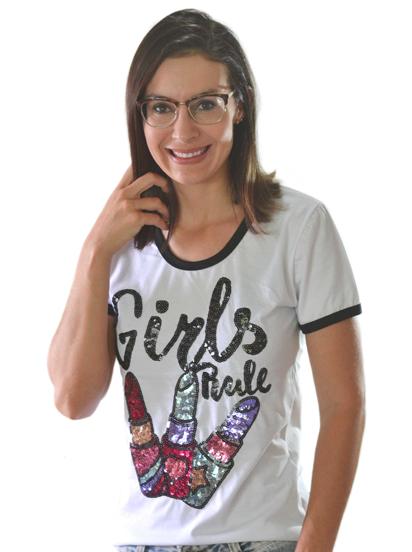 T-shirt Girl Rule Branca