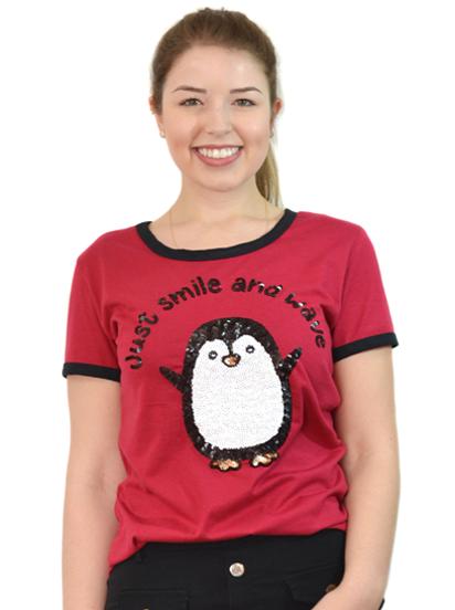T-Shirt Just Smile Vinho