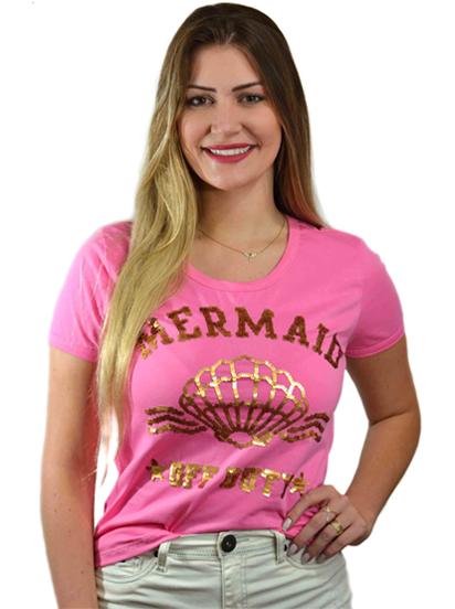 T-shirt Mermaid off Duty Pink (Paetê Vai e Vem)