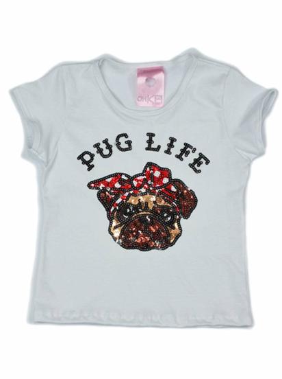 T-Shirt Pug Life Branca Kids