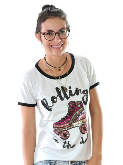 T-shirt Rolling Branca