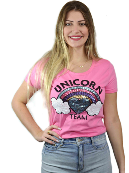 T-shirt Unicorn Team Pink