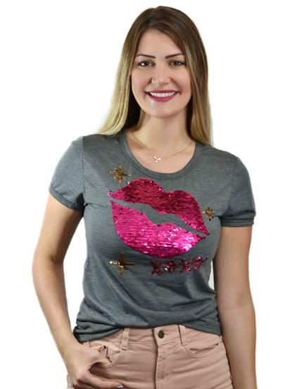 T-shirt Xoxo Chumbo (Paetê Vai e Vem)