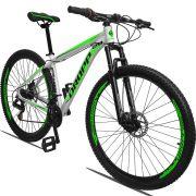 Bicicleta Aro 29 Dropp Aluminum 21v Freio a disco Mecânico Quadro 21 Branco/Verde