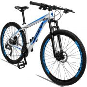 Bicicleta Aro 29 Dropp Aluminum 27v Câmbio Traseiro Acera Freio Hidráulico  Quadro 19 Branco/Azul