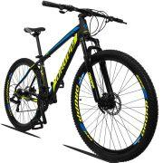 Bicicleta Aro 29 Dropp Z3 21v Câmbios Shimano Freio a Disco Hidráulico Quadro 19 Preto/Amarelo/Azul