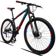 Bicicleta Aro 29 Dropp Z3 21v Câmbios Shimano Freio a Disco Mecânico Quadro 21 Preto/Azul/Vermelho