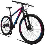 Bicicleta Aro 29 Dropp Z3 21v Câmbios Shimano Freio a Disco Mecânico Quadro 21Preto/Azul/Rosa