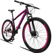 Bicicleta Aro 29 Dropp Z3 27v Câmbio Traseiro Acera Freio Hidráulico Suspensão com Trava Quadro 15 Preto/Rosa