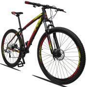 Bicicleta Aro 29 Dropp Z3 27v Câmbio Traseiro Acera Freio Hidráulico Suspensão com Trava Quadro 19 Preto/Amarelo/Vermelho