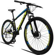 Bicicleta Aro 29 Dropp Z3 27v Câmbio Traseiro Acera Freio Hidráulico Suspensão com Trava Quadro 21 Preto/Amarelo/Azul