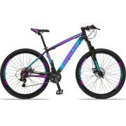 Bicicleta Aro 29 Dropp Z4x 21v Câmbios Shimano Freio a Disco Mecânico Quadro 17 Preto/Azul/Rosa