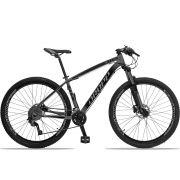 Bicicleta Aro 29 Dropp Z4x 2x9 Shimano Freio a Disco Hidráulico Suspensão com Trava no Guidão Quadro 17 Cinza/Preto