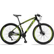 Bicicleta Aro 29 Dropp Z4x 2x9 Shimano Freio a Disco Hidráulico Suspensão com Trava no Guidão Quadro 17 Preto/Amarelo