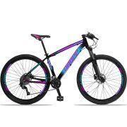 Bicicleta Aro 29 Dropp Z4x 2x9 Shimano Freio a Disco Hidráulico Suspensão com Trava no Guidão Quadro 17 Preto/Azul/Rosa