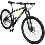 Bicicleta Aro 29 GT SPRINT MX1 21v Câmbio Traseiro Shimano com Suspensão Quadro 17 Preto/Azul/Amarelo