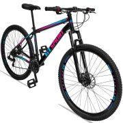 Bicicleta Aro 29 GT SPRINT MX1 21v Câmbio Traseiro Shimano com Suspensão Quadro 17 Preto/Azul/Rosa