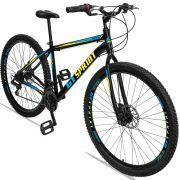 Bicicleta Aro 29 GT SPRINT MX1 21v Freio a disco Mecânico Quadro 21 Preto/Azul/Amarelo