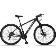 Bicicleta Aro 29 KSW XLT 21v Câmbios Importados Freio a Disco Mecânico Quadro 19 Preto/Cinza