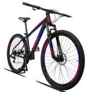 Bicicleta Aro 29 KSW XLT 21v Câmbios Shimano Freio a Disco Mecânico Quadro 15 Preto/Azul/Rosa