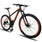 Bicicleta Aro 29 KSW XLT 21v Câmbios Shimano Freio a Disco Mecânico Quadro 15 Preto/Laranja
