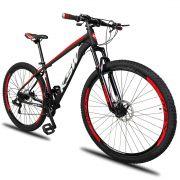 Bicicleta Aro 29 KSW XLT 21v Câmbios Shimano Freio a Disco Mecânico Quadro 17 Preto/Branco/Vermelho