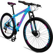 Bicicleta Aro 29 Spaceline Orion 21v Freio a disco Mecânico Quadro 21 Azul/Rosa