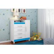 Cômoda Turquesa Quadriflex: (Branco/Preto/Azul/Rosa) - Móveis Albatroz