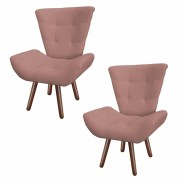 Kit 02 Poltronas Decorativa Diana Suede Rose