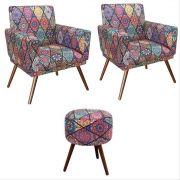 Kit 02 Poltronas Decorativa Nina com rodapé e Puff redondo Mosaico